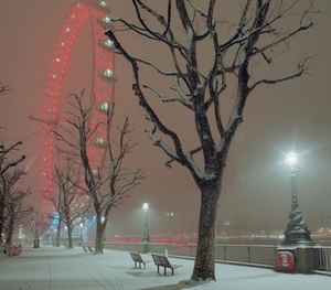 London's Southbank in unusually winter snow