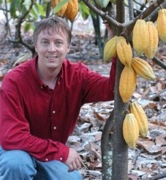 Art Pollard in a cacao plantation