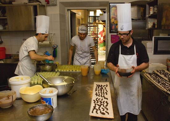 Chefs at work at La Bottega del Cioccolato
