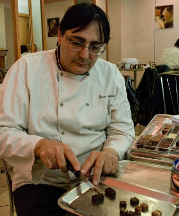Luca Mannori prepares samples for tasting