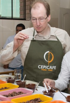 Martin Christy sampling liquor in Piura, Peru