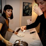 Eugenia Cruz demonstrating a sensorial chocolate experience