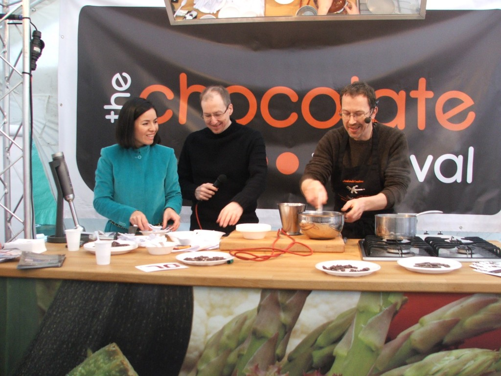 Susana, Martin and Damian Allsop talking Slow Chocolate