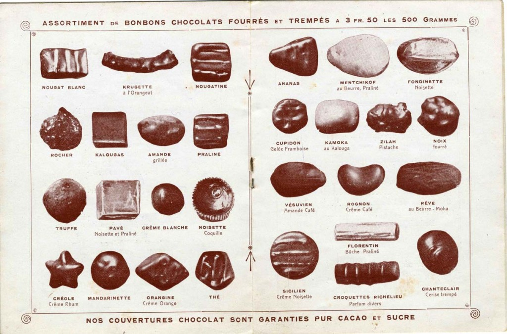 Selection of bonbons and pralines from Bonnat chocolaterie from the early 1900's