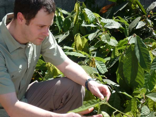 Franck Morin visits a cacao farm in Central America