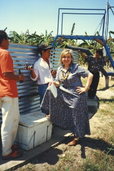 Maricel Presilla doing research at the San Joaquin farm in the plains of Venezuela in the late 1990's. Once owned by Chocolates El Rey, the farm  no longer exists as it was occupied by squatters with the support of the current government of President Hugo Chávez.