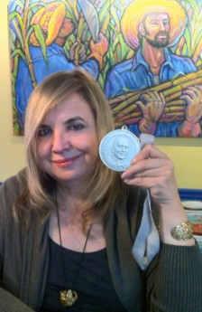 Maricel Presilla shows her James Beard award at her Zafra restaurant